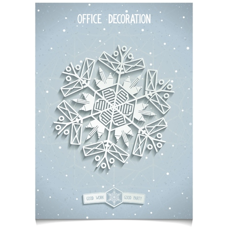 Holiday winter Snowflakes Making of office supplies  Design elements for corporate identity for your office  decoration  Vector illustration eps10 Vector