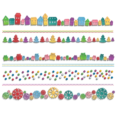 Colorful houses, trees, balls, gifts and snowflakes drawn up in line with the 3D shadow  Festive template for   decoration  Vector set eps10 Vector