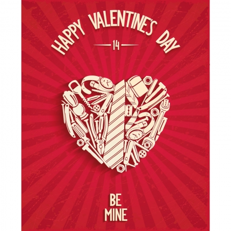 be mine: Happy Valentine s Day greeting card with mens accessories in the form of heart and 3D text BE MINE