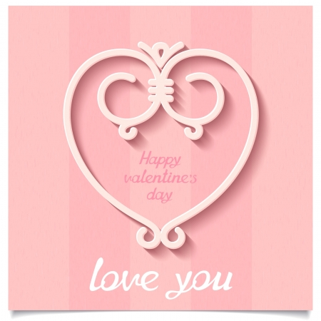 Symbol of love - heart from lines held together on a textured background  Abstract Happy Valentine s Day card   Vector illustration eps10