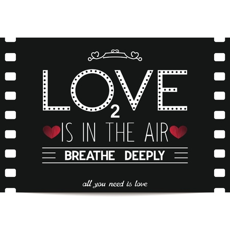 Valentine s day card design in retro movie style on the film frame background  Abstract love is in the air around us, breathe deeply  Vector illustration eps8   Illusztráció