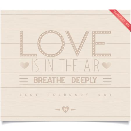 deeply: Just Valentine s day design on wood plank Illustration