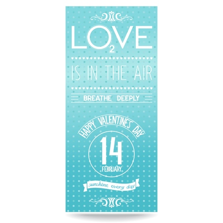 Valentine s day leaflet design with typography composition  Lettering love is in the air ,breathe deeply  Vector  illustration eps8  Stock Vector - 24889745