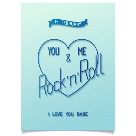 Beautiful heart for Happy valentine s day  Conceptual design with lettering 14 FEBRUARY - YOU, ME AND ROCK N ROLL  Vector