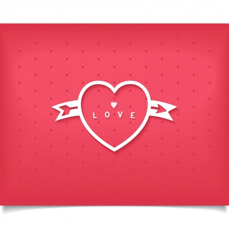 Creative heart white outline with arrow and word love on polka dot background   Vector