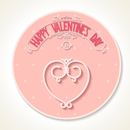 Happy Valentine s day circle card with 3D text and ornaments composition on polka dot background   Vector