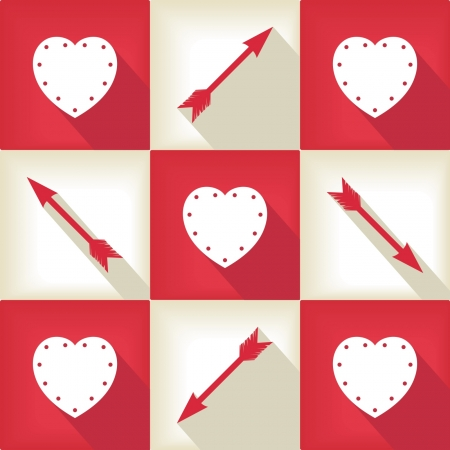 Happy Valentine Day pop-art pattern with hearts and arrow symbols   Vector