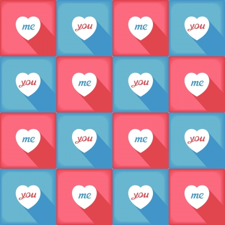 Love pattern with many hearts in pop-art style with word you and me  Fresh contrasting colors    Vector