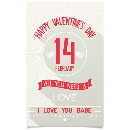 Just Happy Valentine s Day flyer with flat design lettering on stylised antique background