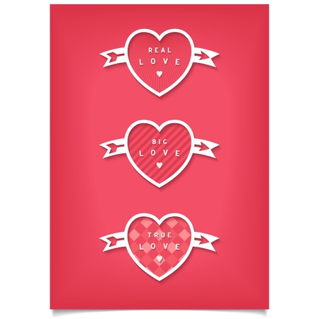 true love: Valentines poster with three hearts  Lettering big, real, true love