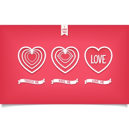 Three icon hearts with a message touch me, kiss me, love me  Valentines day design