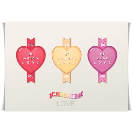 true love: Three icon hearts with a message  Lettering big, real, true love  Valentines day design