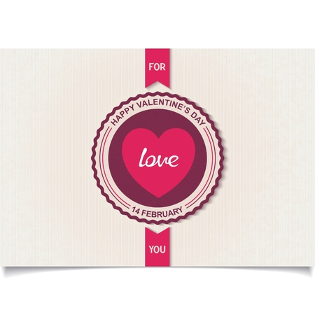 Retro vintage badge with beautiful heart and inscription for Valentine s Day  Vector