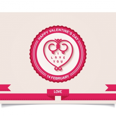 Retro badge with heart and text for Valentine s Day on detailed heraldry background  Vector