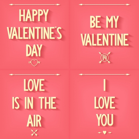 phrases: Flat design four phrases for Valentine s Day with symbols and icons on pink background  vector set eps10