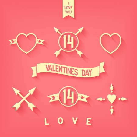 Character set for Valentine s Day in style flat design  Details of love, abstract elements  Vector