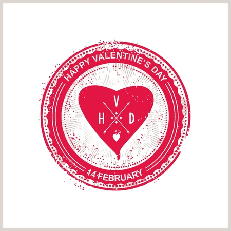 Stamp with heart and lettering for Valentine s Day    Vector