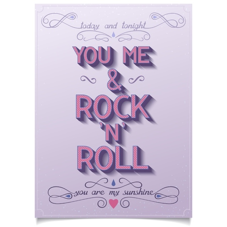 rock 'n ' roll: Lettering poster for Valentine s day  YOU, ME AND ROCK N ROLL    Illustration