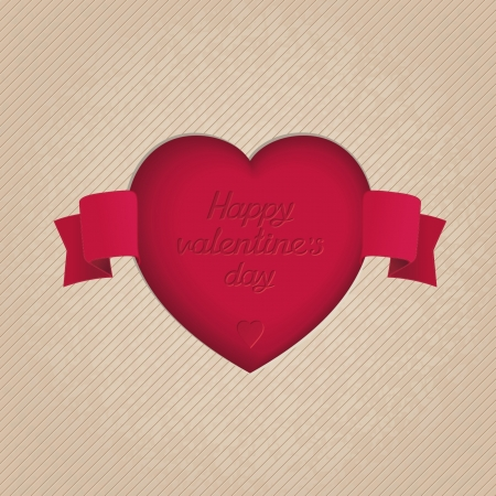 Heart carved in the carton with tape  Valentine s Day symbols   Vector