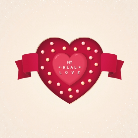 Heart carved in the cardboard with tape and pearls  My real love lettering    Vector