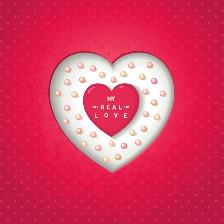 Heart carved in the cardboard with many pearls  My real love lettering    Vector
