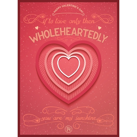 Valentine s Day lettering poster with heart  If to love only than wholeheartedly    Vector