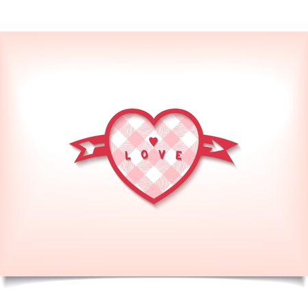 Love symbol - red heart with arrow on tender  Illustration