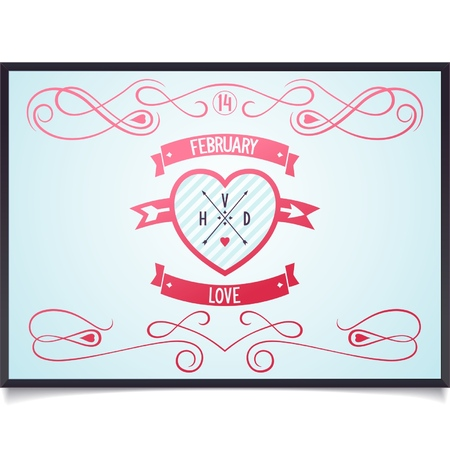 pierced: Poster with heart and pattern of curlicues for Valentine s Day