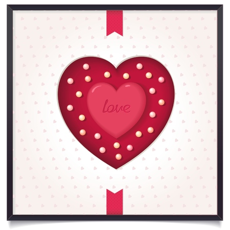 slot in: Heart in picture frame with tape  Symbol of love  vector eps8