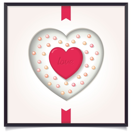 Heart in picture frame with tape  Symbol of love  vector eps8 Vector