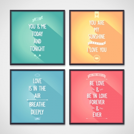 Set of posters with phrases about love  Flat design  Vector eps10 Vector