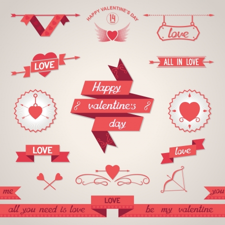 Set of design elements for Valentine s Day  Vector eps8 Vector