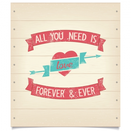 All you need is love design quotes with ribbons on wood background  Vector eps8 Stock Illustratie
