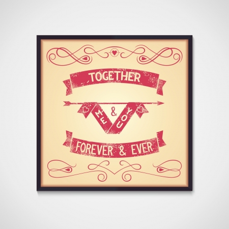 Me and you together grunge design symbol and quotes  Vector eps10 Vector