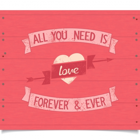 All you need is love vintage american design quotes with ribbons  Vector eps8 Illustration