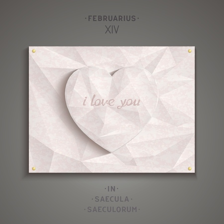 Heart of pink marble with an inscription in Latin  Vector signboard eps10 Vector