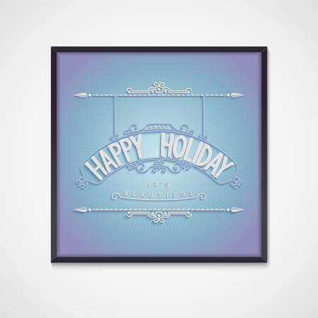 curlicues: Holiday card with decoration ornament and lettering design 3D volume effect  vector eps10