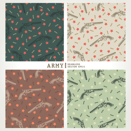 Seamless pattern with star, pistols, bullets  Military background  vector eps8 Vector