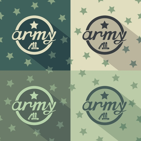 Military signs flat design on seamless star background  vector eps8 Illustration