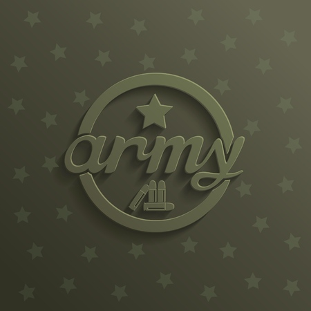 Military sign design with star and bullets on khaki background  vector eps10