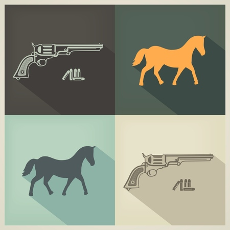 Western flat design symbols horse and gun with bullets  vector eps8 Vector