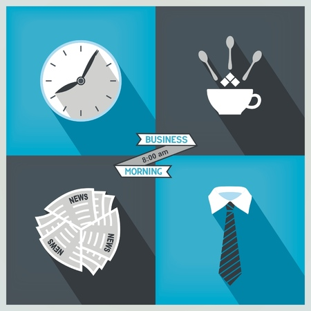 Set icons morning in the office  Newspaper, coffee, watches, tie  Vector eps8 Illustration