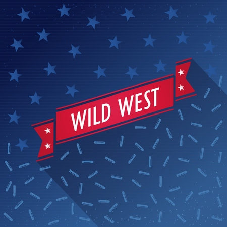 Wild west poster with bullets, stars and retro ribbon  Vector eps10