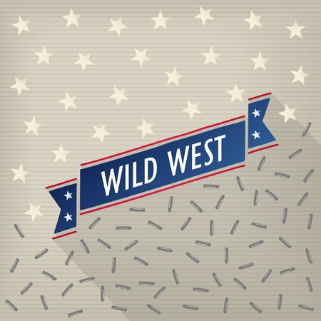 Wild west retro poster with bullets, stars and ribbon  Vector eps10 Vector