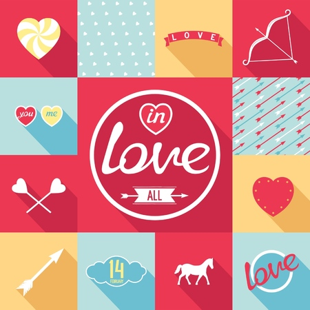 Flat design set for love  Symbols, elements, patterns in pop-art style  Vector eps8 Vector