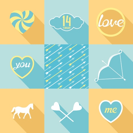 Flat elements set for love  Symbols, objects, patterns in pop-art style  Vector eps8 Vector