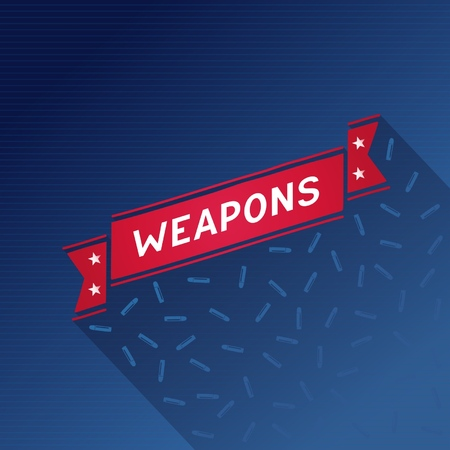 Weapons creative poster with stars and retro ribbon  Vector eps10 Vector