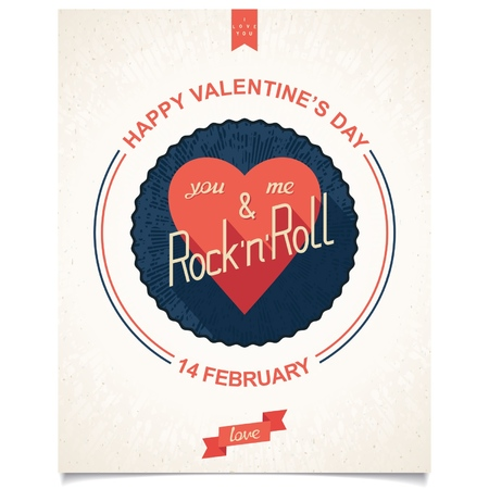 Quote poster for Valentines day  Conceptual design with phrase - you, me and rock n roll  Vector eps10 Vector