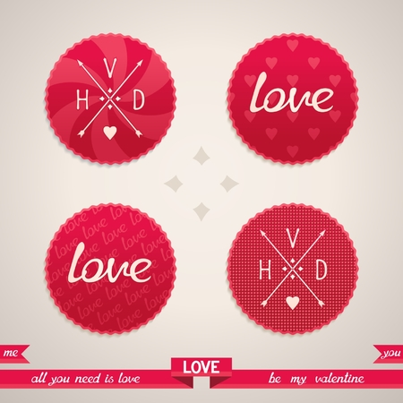 Set of design elements for Valentine s Day  Vector illustration eps10 Vector