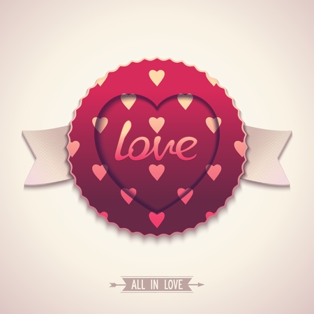 Vintage label with ribbons and pattern for love  Vector elements eps10 Vector